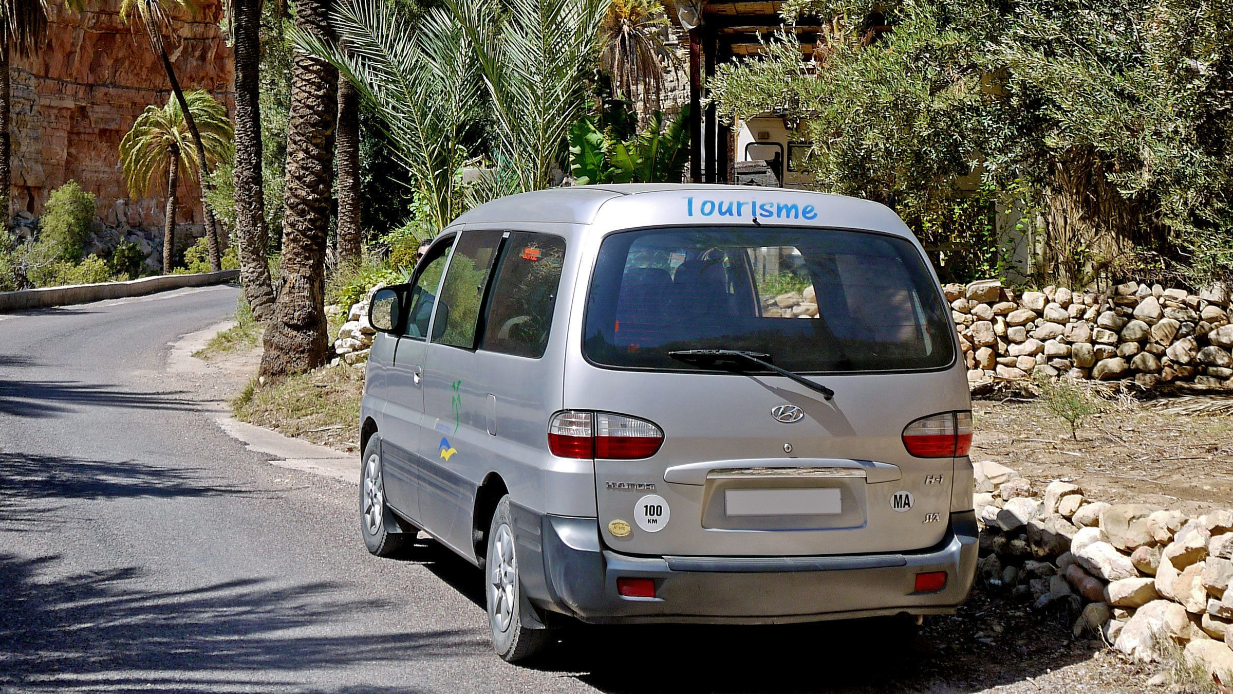 Tour van on a street lined with palm trees in Paradise Valley