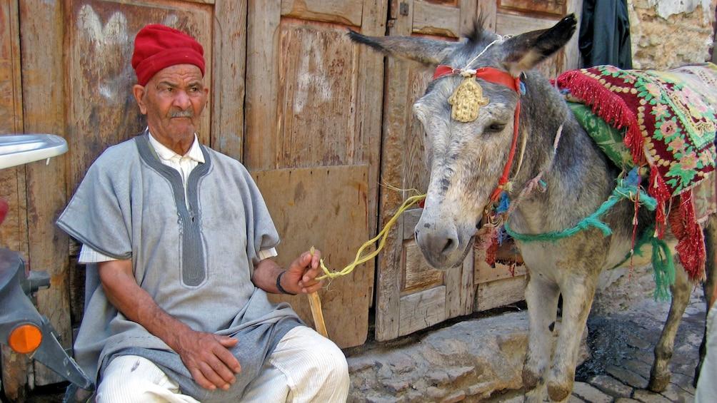 Charger l'élément 2 sur 5. man with a donkey in casablanca