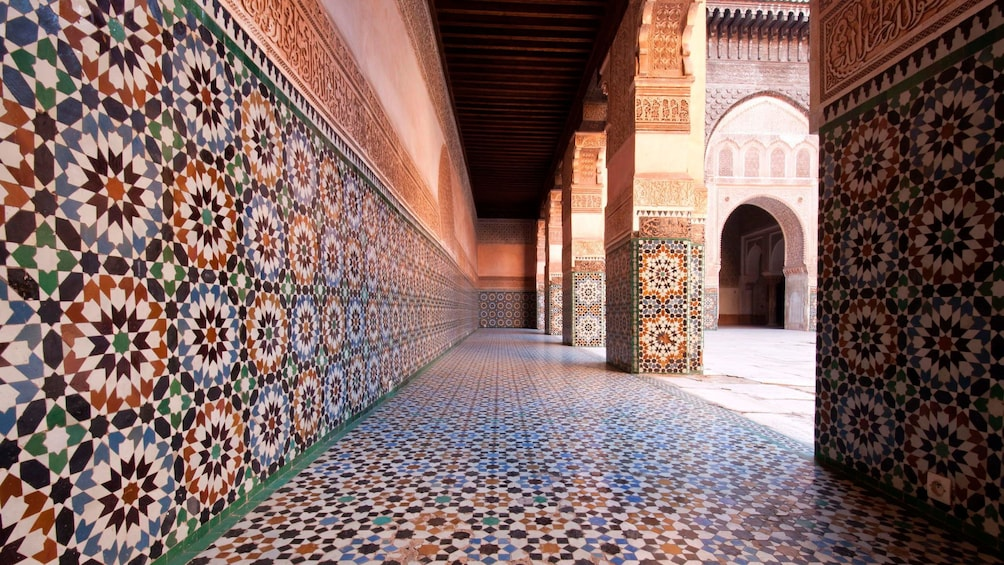 Show item 2 of 5. Decorated wall in El Bahia Palace of Marrakech