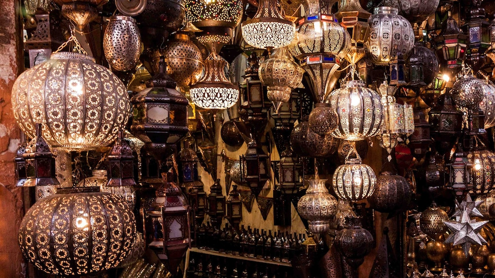 Show item 3 of 5. Lantern shop within Djemaa El Fnaa Square in Marrakech