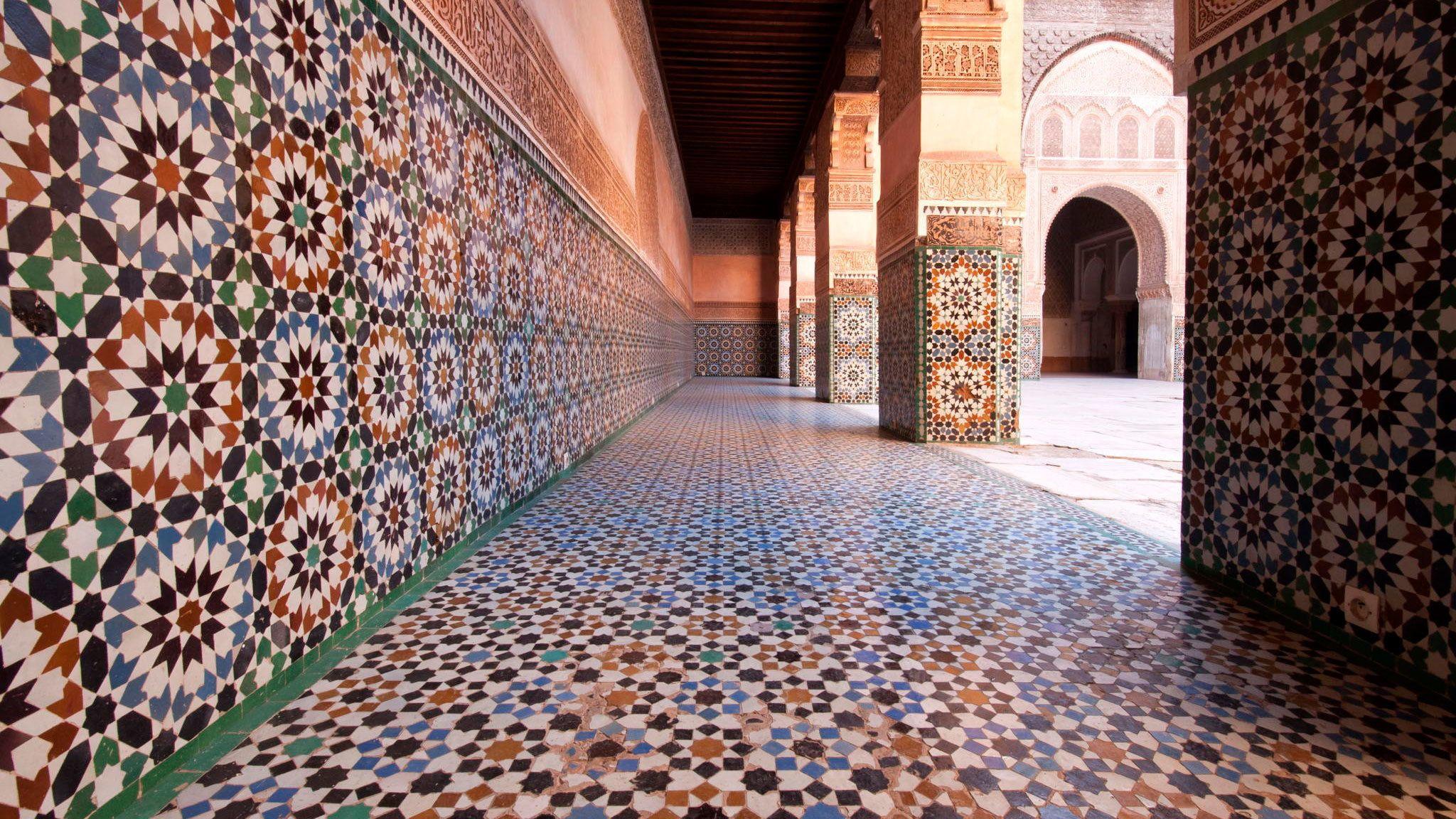 Decorated hallway within El Bahia Palace