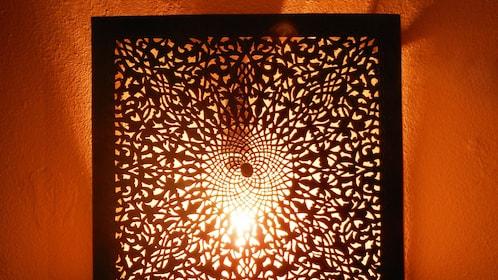 backlit carved wall
