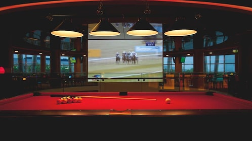 Red pool table with big screen TV airing live horse race.