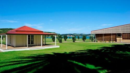 well kept lawn at an establishment on Rotoroa Island