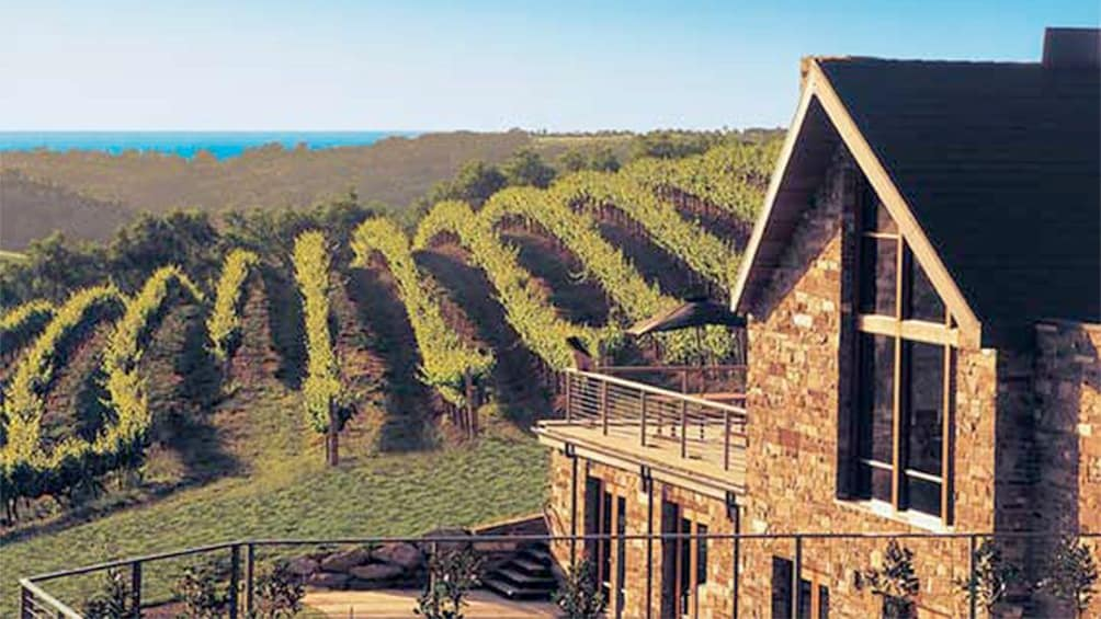 Show item 1 of 5. Brick building and surrounding vineyard of a winery in Mclaren Vale