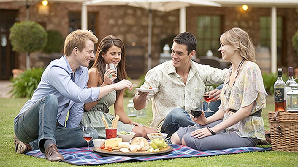 Show item 5 of 5. Group enjoying a picnic at a winery in Mclaren Vale