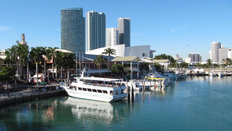 Boats docked at a marina in Miami