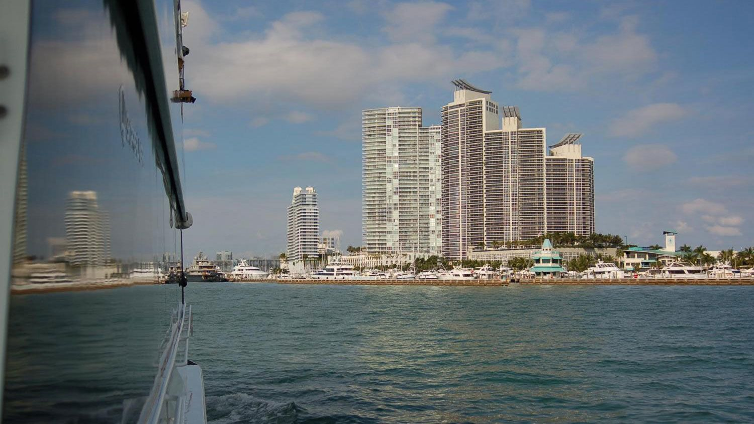 View of the Miami skyline from a boat