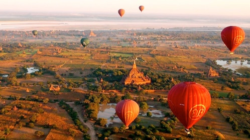 Stunning aerial view of hot air balloons on the Hot Air Balloon Flight over Bagan