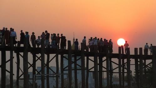 Sunset view of 200-year-old U Bein Bridge in Mandalay