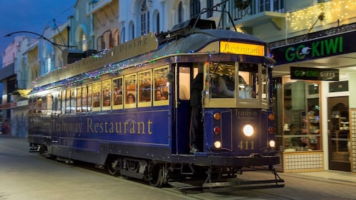 Night view of the Christchurch Tramway Dinner Experience in Christchurch
