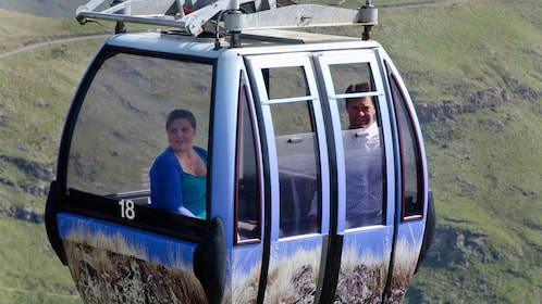 Close view of the gondola on the Port Hills Gondola Experience in Christchurch