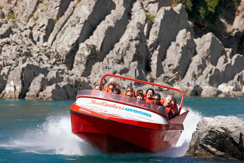 Show item 4 of 4. Close view of the jetboat on the  Jet Boating Ride on the Waiau River in Christchurch