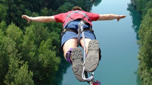 Man Bungee Jumping at Hanmer Springs