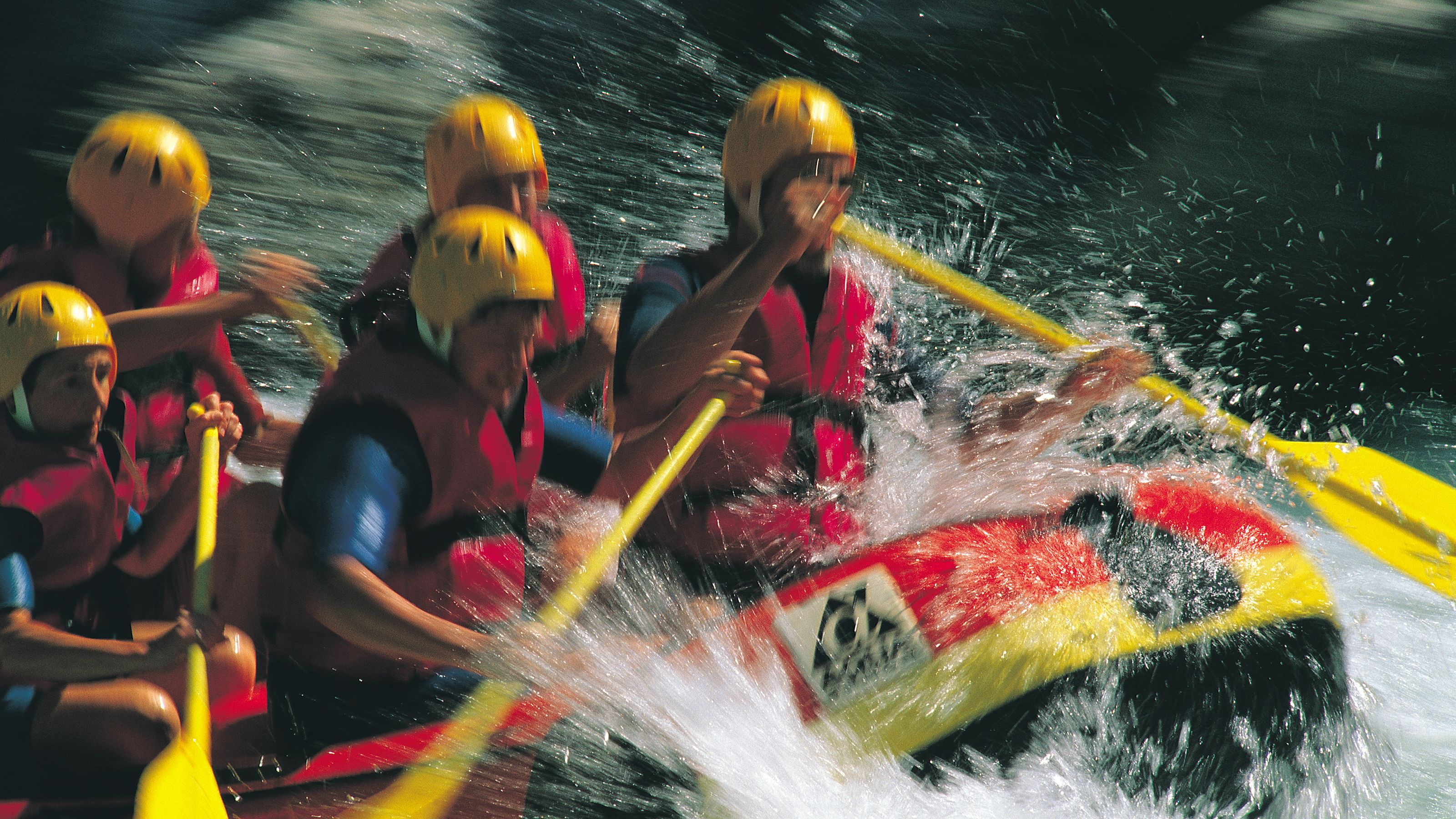 Close view of guests River Rafting on Waiau River in Christchurch