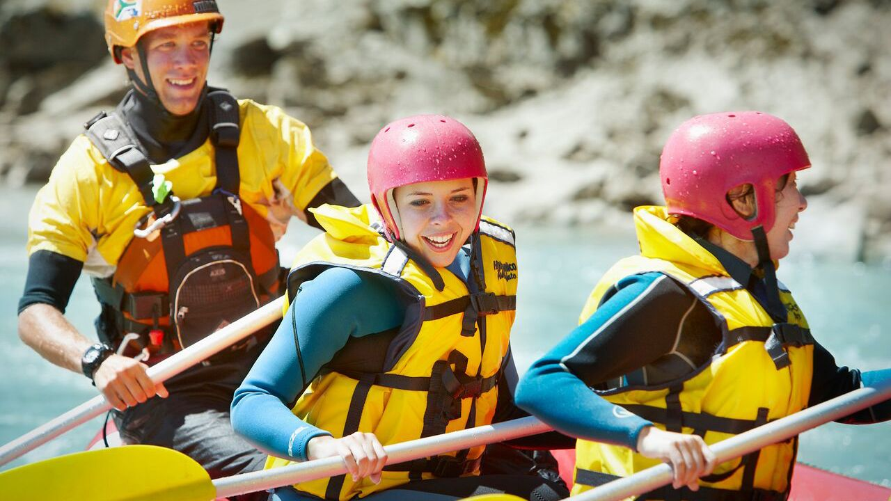 Guests River Rafting on Waiau River in Christchurch
