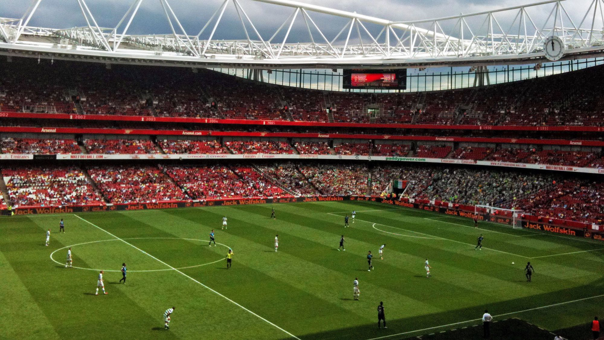 Soccer match in action at the Emirates Stadium in London