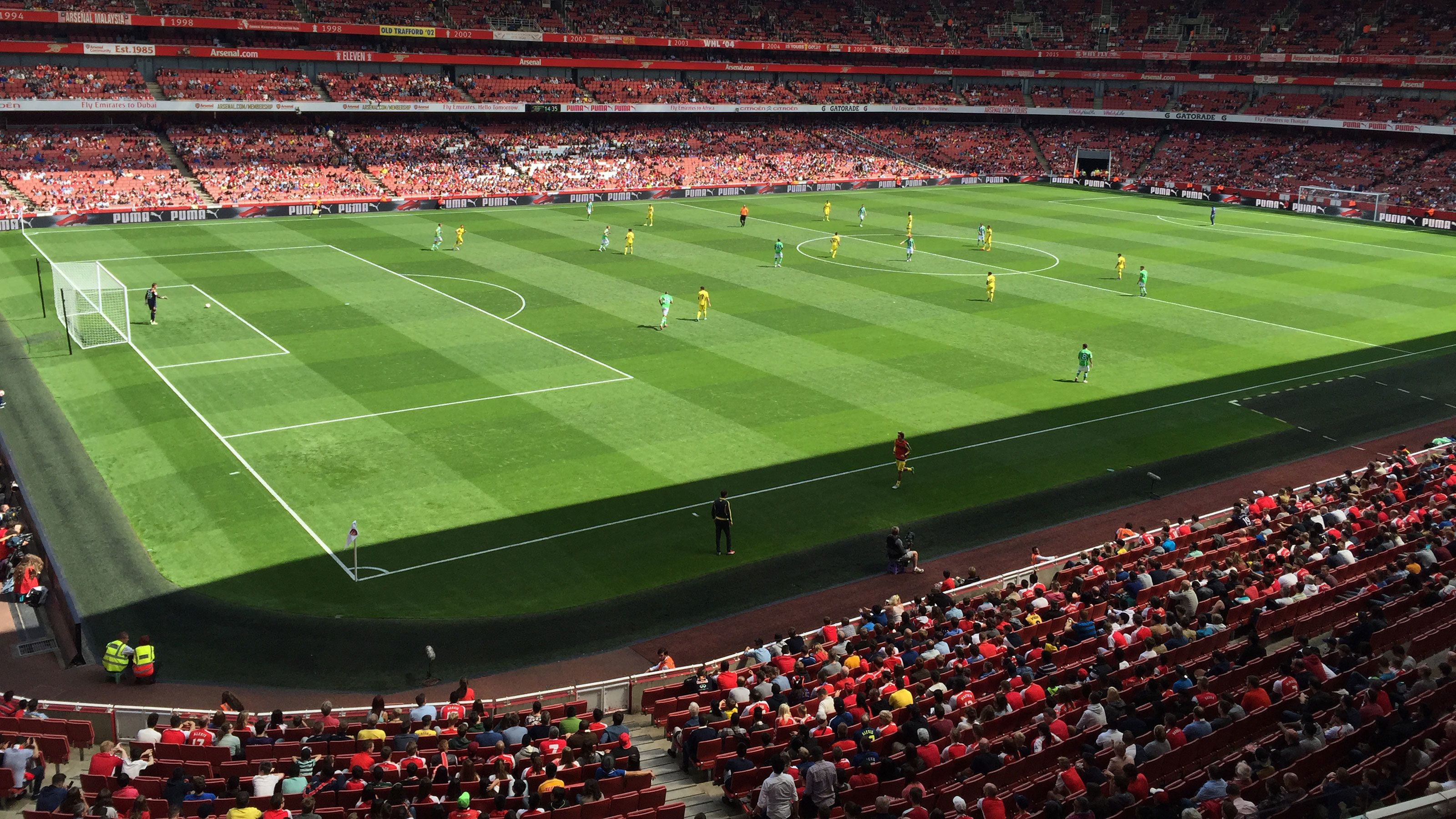 Soccer match at the Emirates Stadium in London