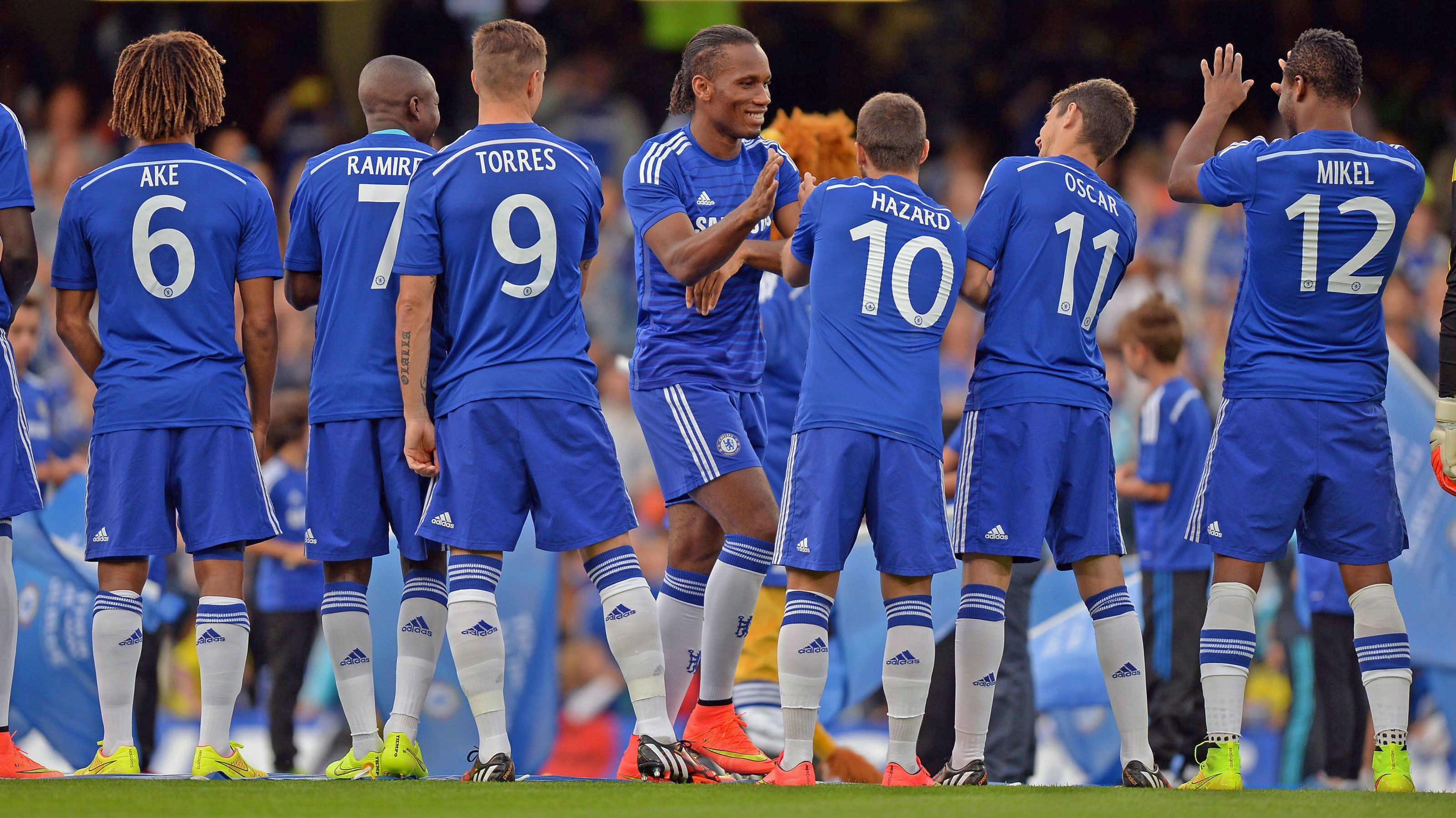 Soccer players at the Chelsea Football Match at Stamford Bridge Stadium in London