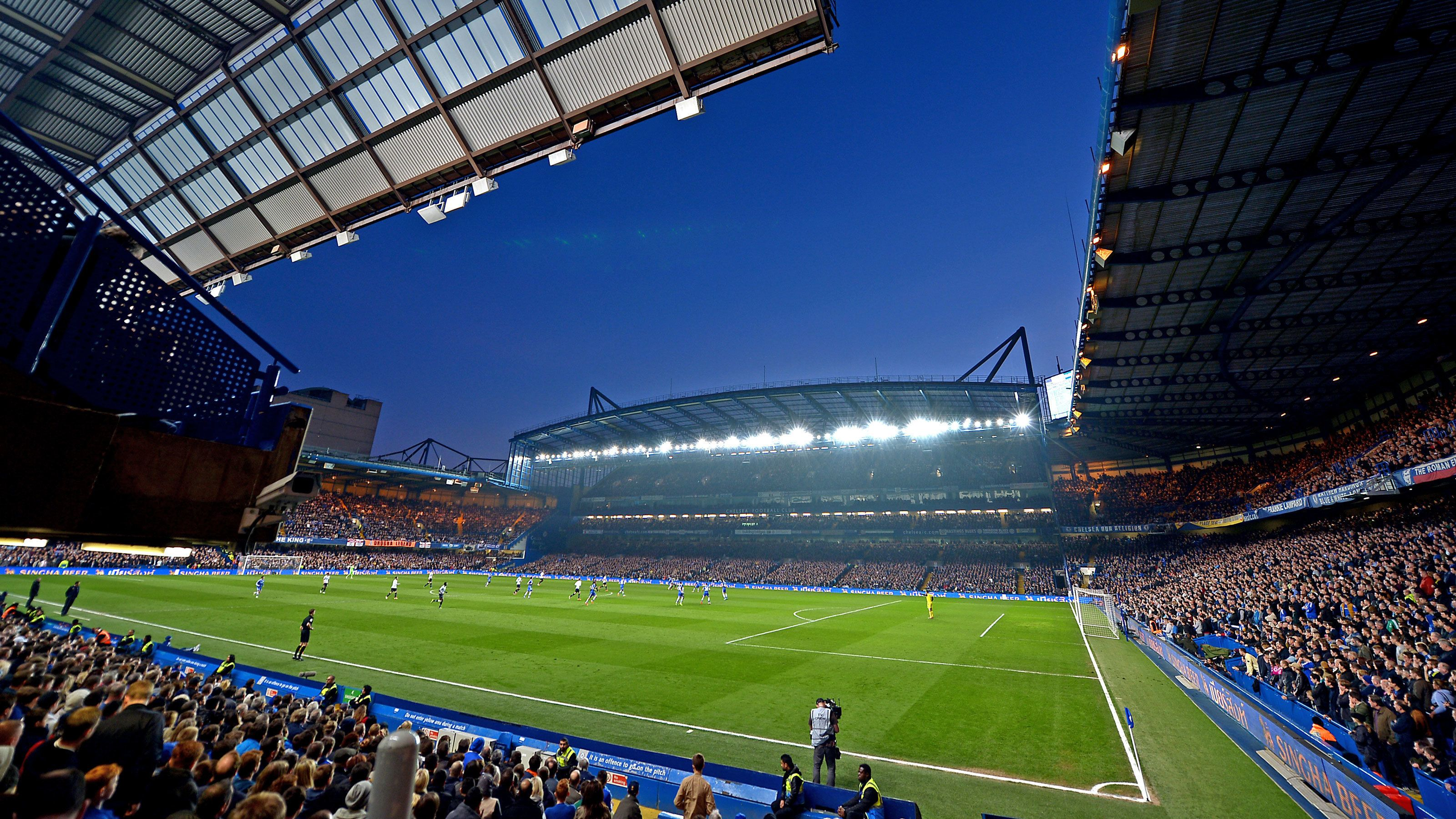 Night view of Chelsea Football Match at Stamford Bridge Stadium in London