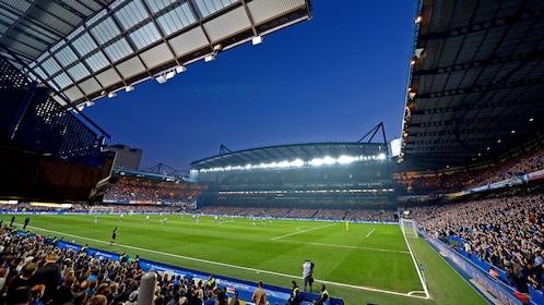 Night view of Chelsea Football Match at Stamford Bridge Stadium in London