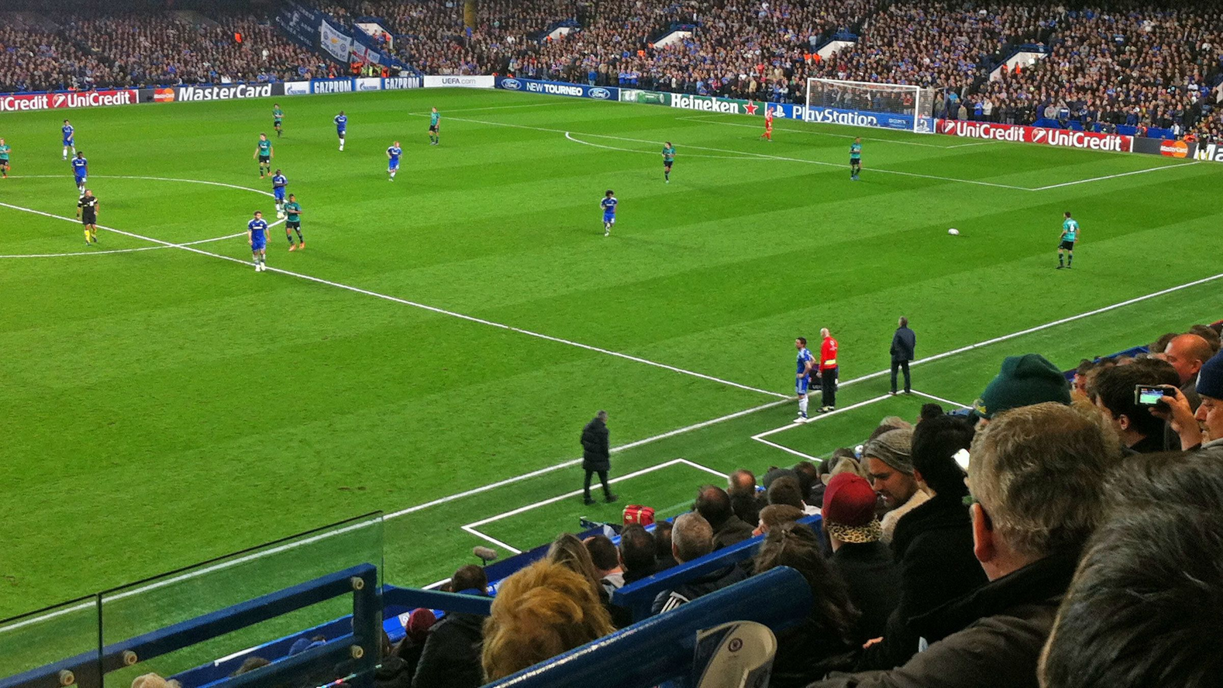 View from stands at Stamford Bridge Stadium