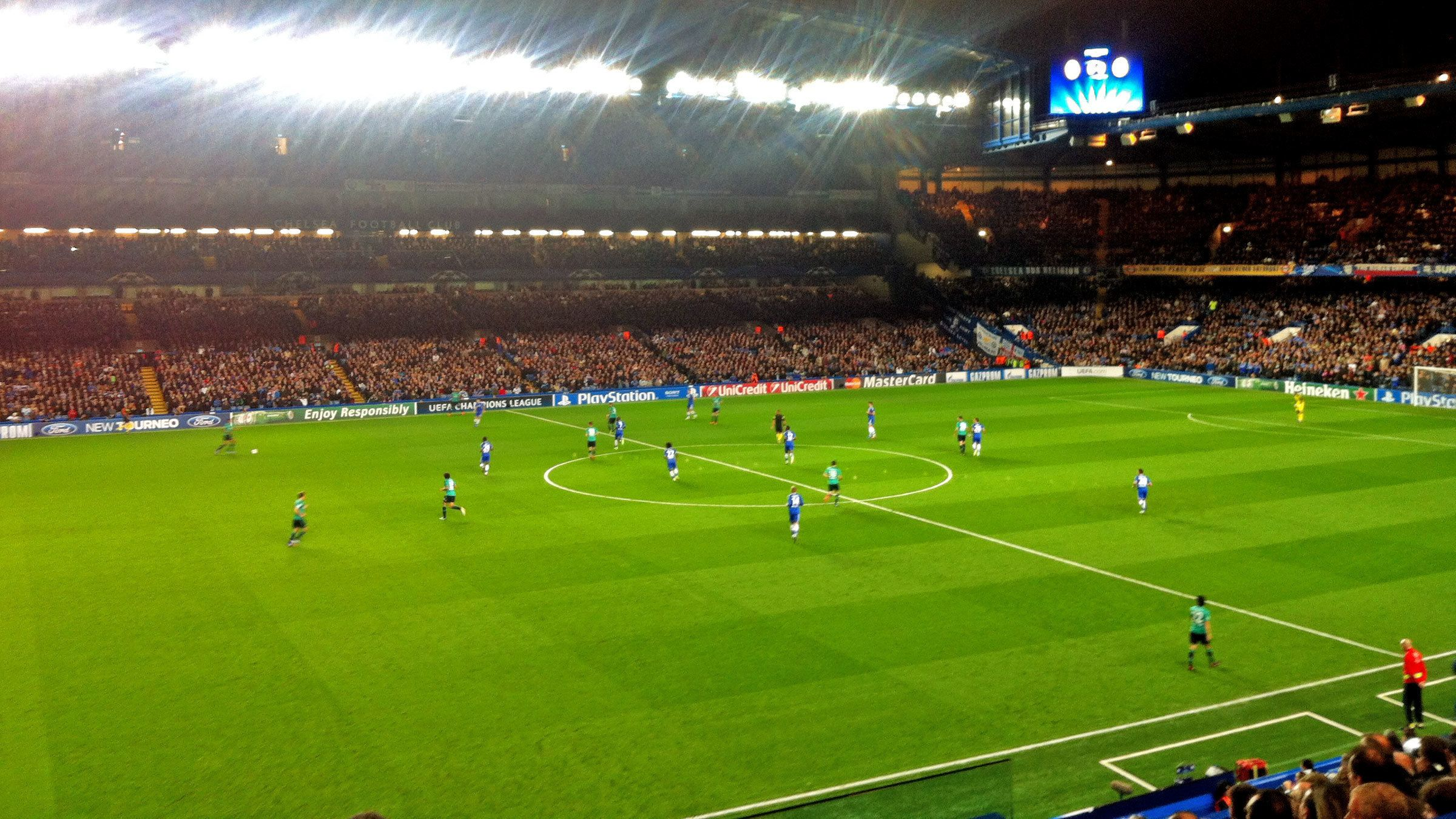 Matching continuing under stadium lights at Stamford Bridge Stadium