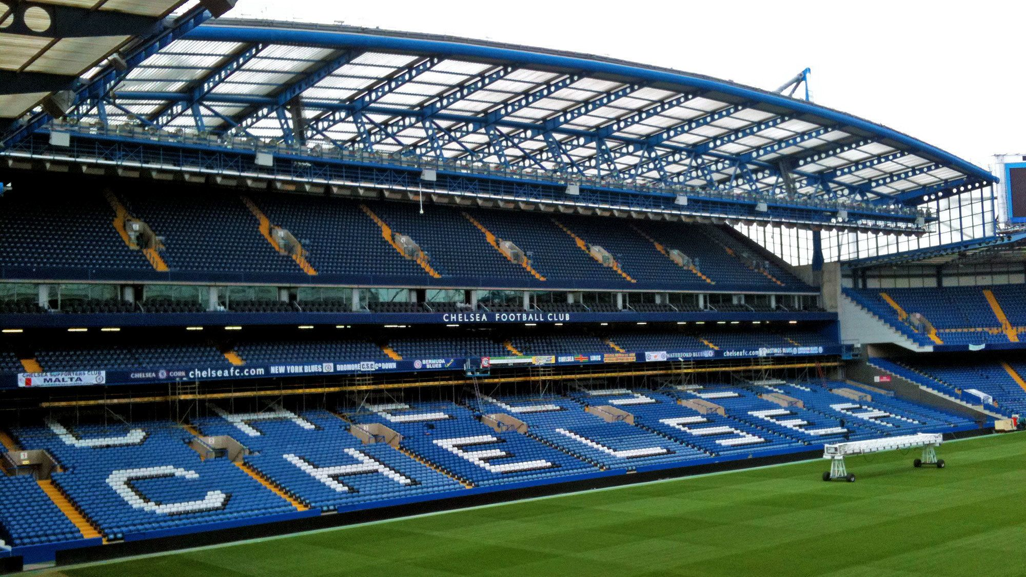 Panoramic view of the seating area inside the Stamford Bridge Stadium in London