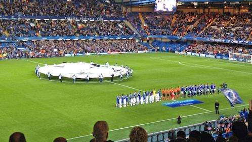 Beginning of match of London Chelsea Football Match at Stamford Bridge Stadium