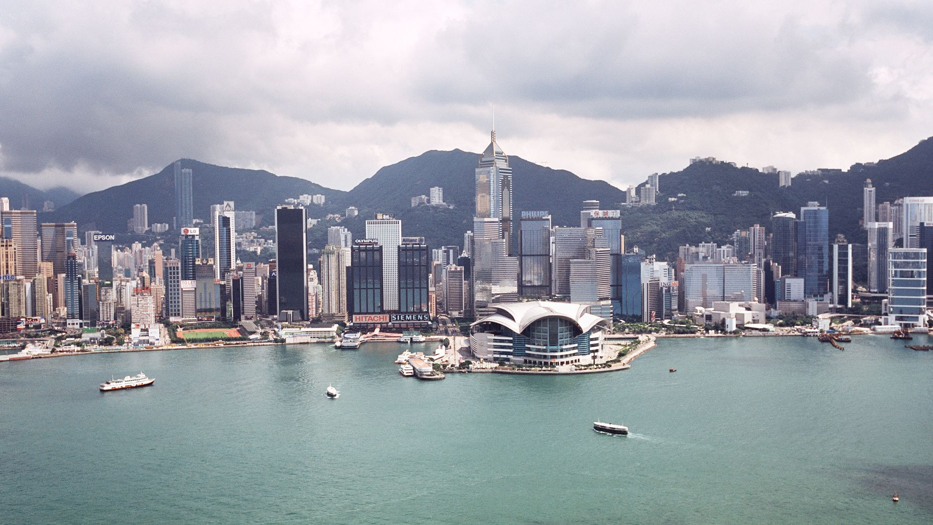 Aerial view of the Victoria Harbour in Hong Kong