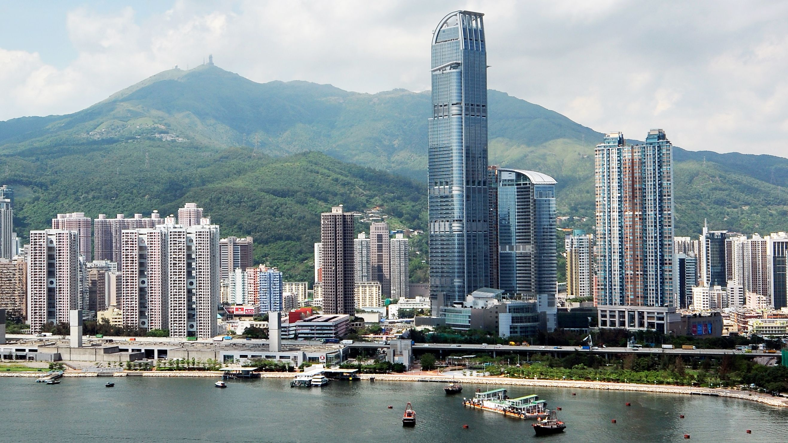 Aerial view of Victoria Harbour and buildings in Hong Kong