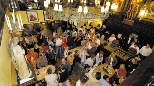 aerial view inside of bar