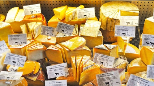 Stock of various cheese in New York