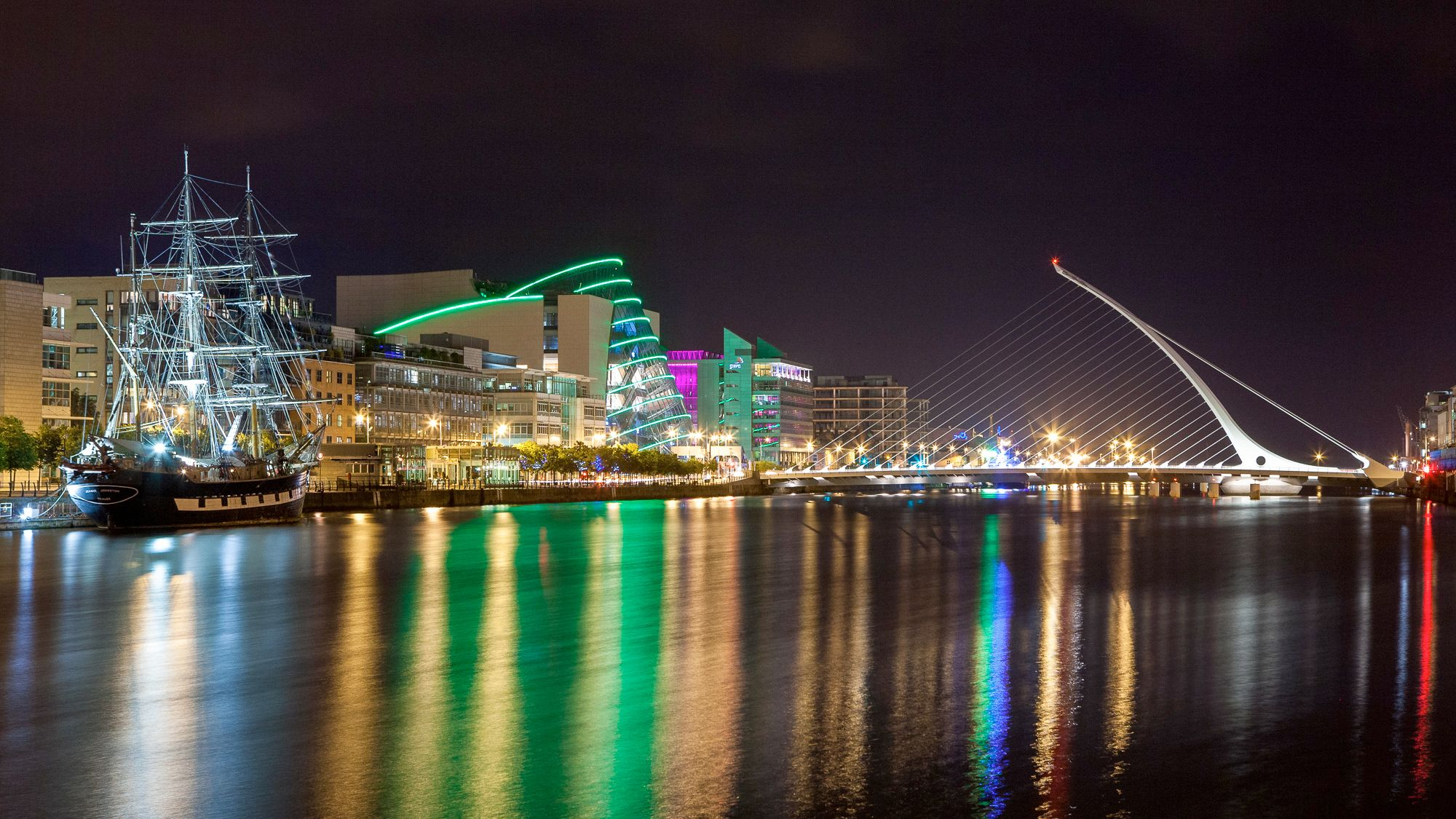 City and river at night in Dublin
