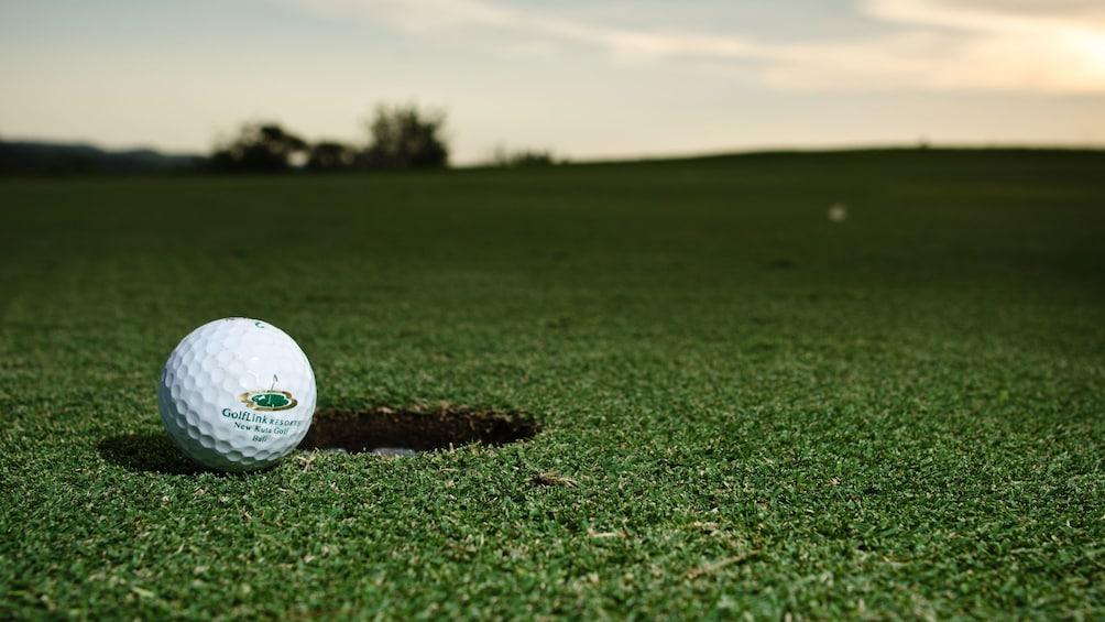 Golf ball nearing the hold in Bali