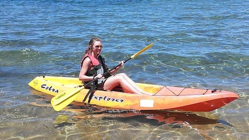 Woman kayaking in Lake Tahoe