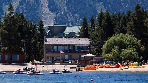 Jet skis and paddle boats at the beach in Lake Tahoe