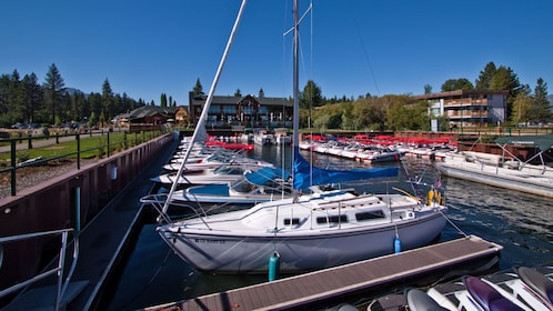 Speedboats docked at the bay in Lake Tahoe