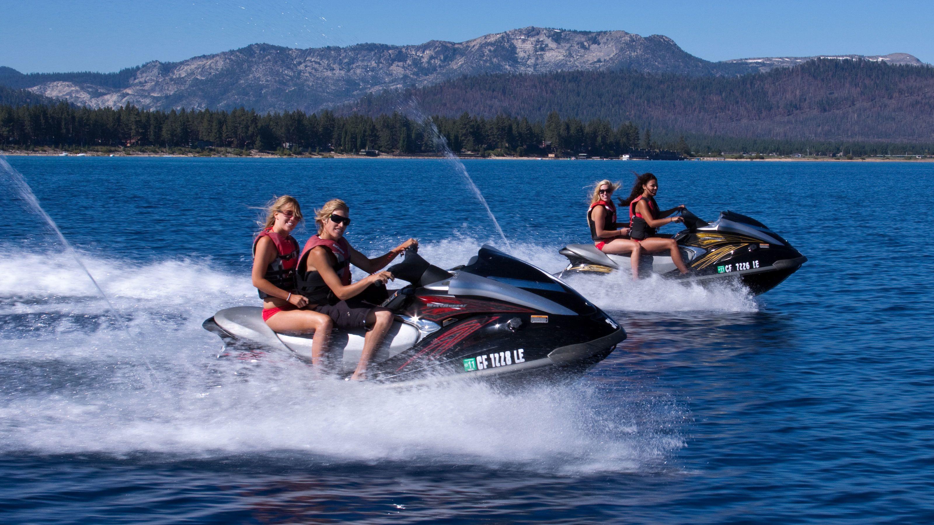 Women jet skiing in Lake Tahoe