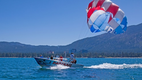 Group getting ready to parasail in Lake Tahoe