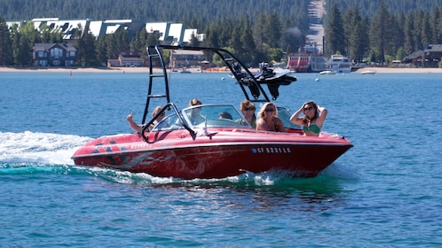 Group on a rental boat in Lake Tahoe