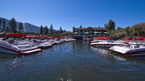 Rental boats docked at the bay in Lake Tahoe