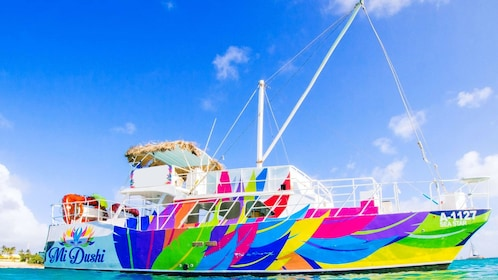 aboard a vibrant colored ship in Aruba