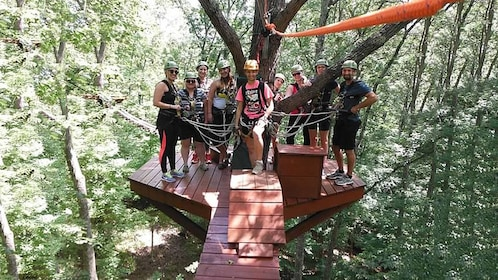 zipliners standing on a canopy in Indiana