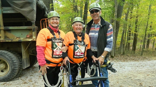 Group ready for their ziplining experience in Indiana
