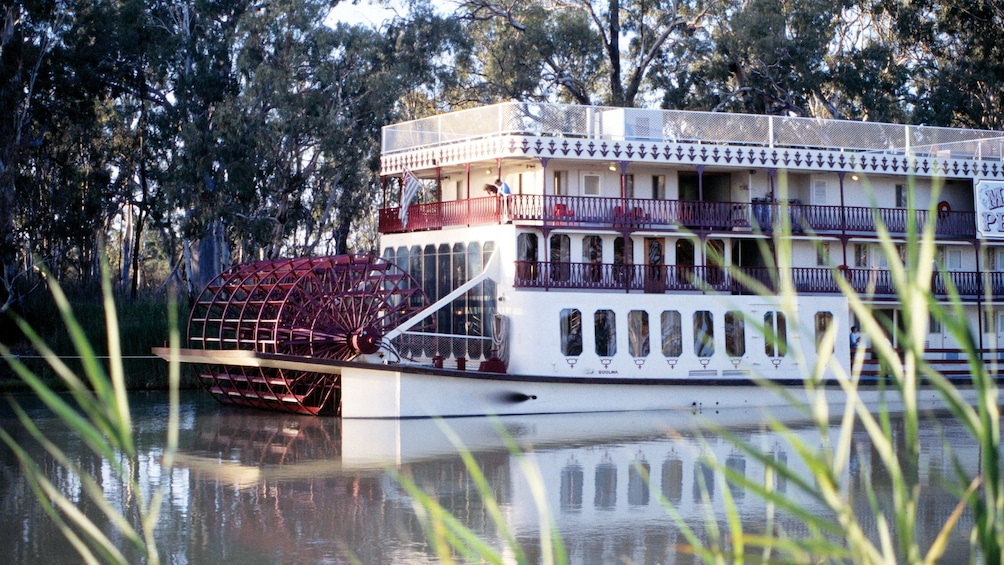 Show item 2 of 5. Boat on the waters of the Murray River Wetlands in South Australia