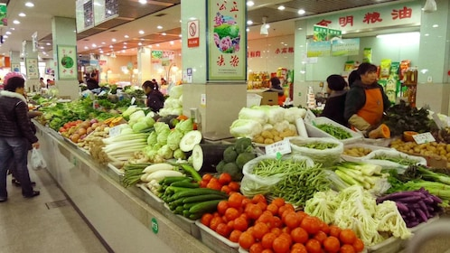 shopping for ingredients at the market in Shanghai
