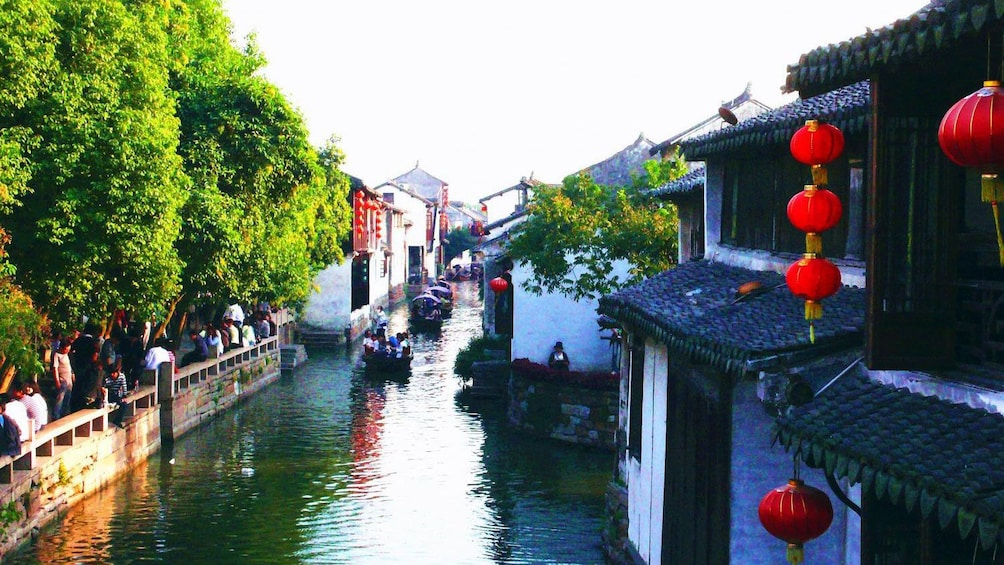 canal with boats in Suzhou, China