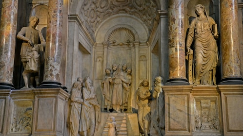 religious sculptures inside the Duomo di Milano in Florence