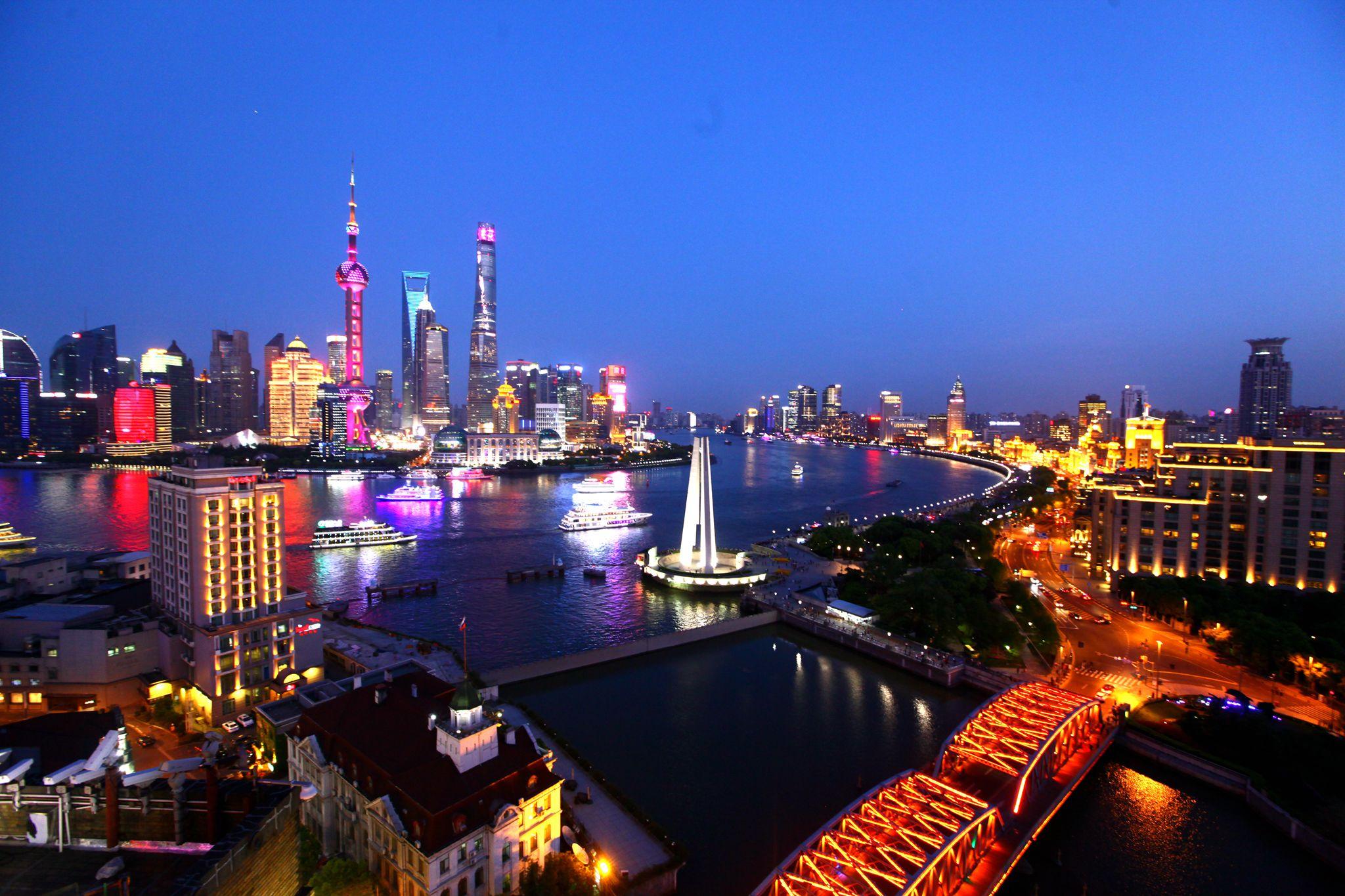 Evening City Lights & Huangpu River Cruise Coach Tour